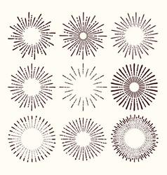 collection trendy hand drawn retro sunburst vector image