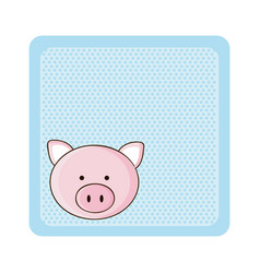 colorful greeting card with picture pig animal vector image