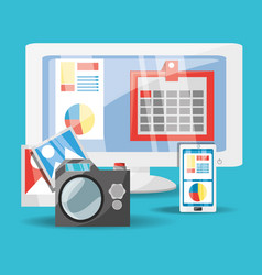 computer camera and smartphonne digital marketing vector image