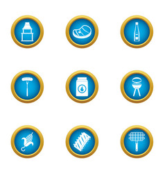 Cookery expert icons set flat style vector