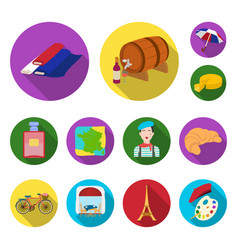 Country france flat icons in set collection for vector