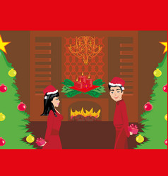 Couple exchanging christmas gifts vector