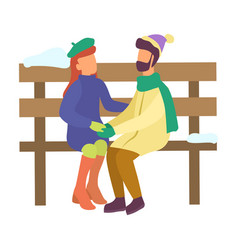 couple hugging on bench winter characters isolated vector image