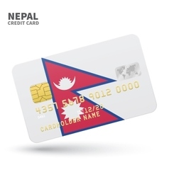 Credit card with Nepal flag background for bank vector