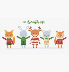 cute animals christmas ugly sweater party set vector image