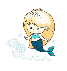 Cute little mermaid with a treasure chest vector