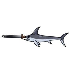 Cute swordfish with real sword cartoon vector