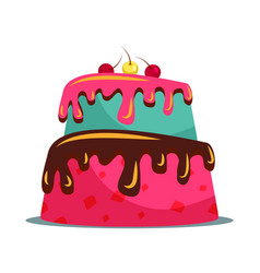 Delicious two tier cake flat vector