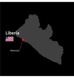 Detailed map of Liberia and capital city Monrovia vector image vector image
