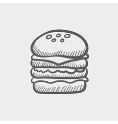 Double burger sketch icon vector image