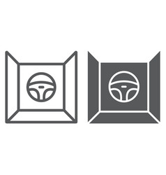 driving simulator line and glyph icon gaming and vector image