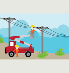 electrician on picker car crane and working with e vector image