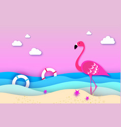 Elegant pink bird flamingo and lifebuoy in the sea vector
