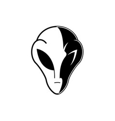 extraterrestrial alien head or face in black and vector image