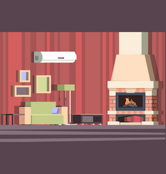fireplace in interior relax with sofa in room vector image