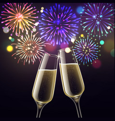 fireworks and champagne glasses congratulatory vector image