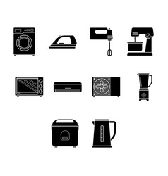 Flat color home appliance icon set vector