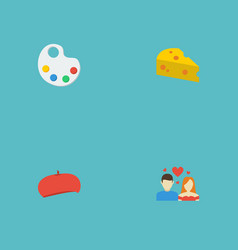 Flat icons palette cap cheddar and other vector