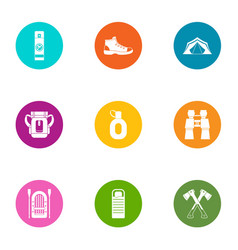 Forest camping icons set flat style vector