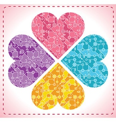 four ornate hearts in shape of flower - vector image