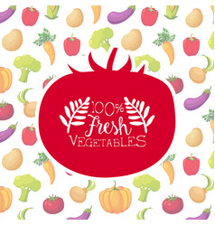 fresh vegetables banner template with organic farm vector image