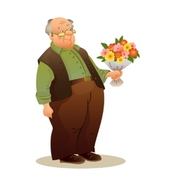 Funny old man with glasses Elderly man holding a vector image