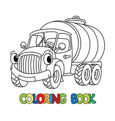 Funny small milk truck with eyes coloring book vector