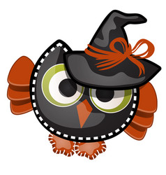 Funny witch owl with contours in the form of vector