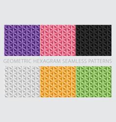 Geometric hexagram seamless patterns vector