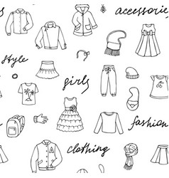 Girls clothes and lettering doodle seamless vector