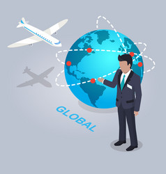 Global electronic commerce and businessman flat vector