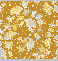 Gold silver flowers seamless repeat floral vector