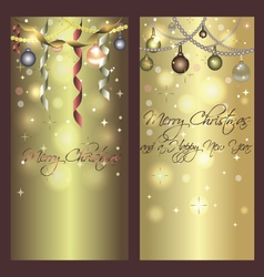 Golden shiny banners for christmas and new year vector