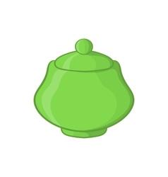 Green ceramic sugar bowl icon cartoon style vector
