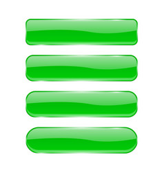 green glass buttons shiny rectangle 3d icons vector image