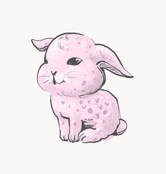 hand drawn pink rabbit cute bunny baby vector image