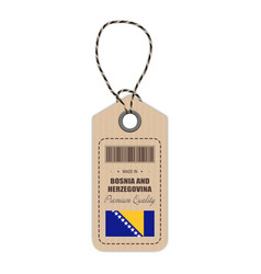 Hang tag made in bosnia and herzegovina with flag vector