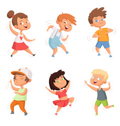 Happy childhood various funny dancing kids vector