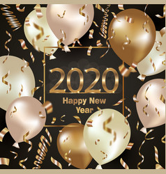 happy new year 2020 background with golden vector image