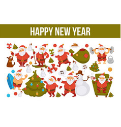 happy new year santa cartoon celebrating holiday vector image