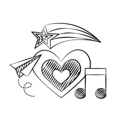 Heart plane note music shooting star doodles vector