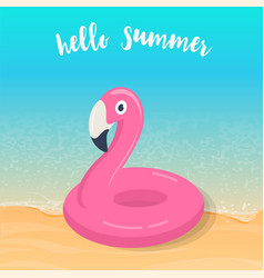 Hello summer pink flamingo inflatable pool float vector