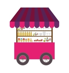 Ice cream cart icon vector