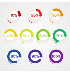 Infographics percentage scale set for diagrams vector