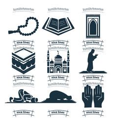 Islam icon set muslim prayer icon set with mosque vector