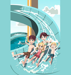 kids playing in water slides vector image