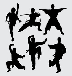 kungfu and martial art silhouette vector image