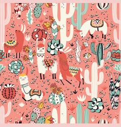 lama in cactus jungles vector image