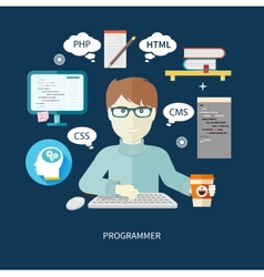 Male programmer with digital devices on workplace vector