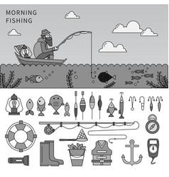 man fishing flat line line monochrome vector image